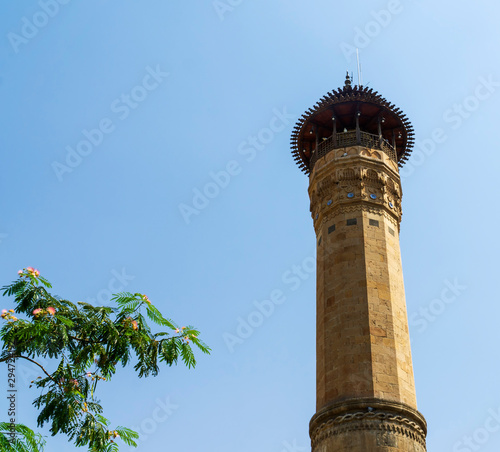 The view from below of the minaret of the Ulu Mosque in Kahramanmaras, Turkey, Fototapeta