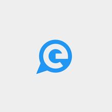 Letter E Chat Logo Template Vector Design
