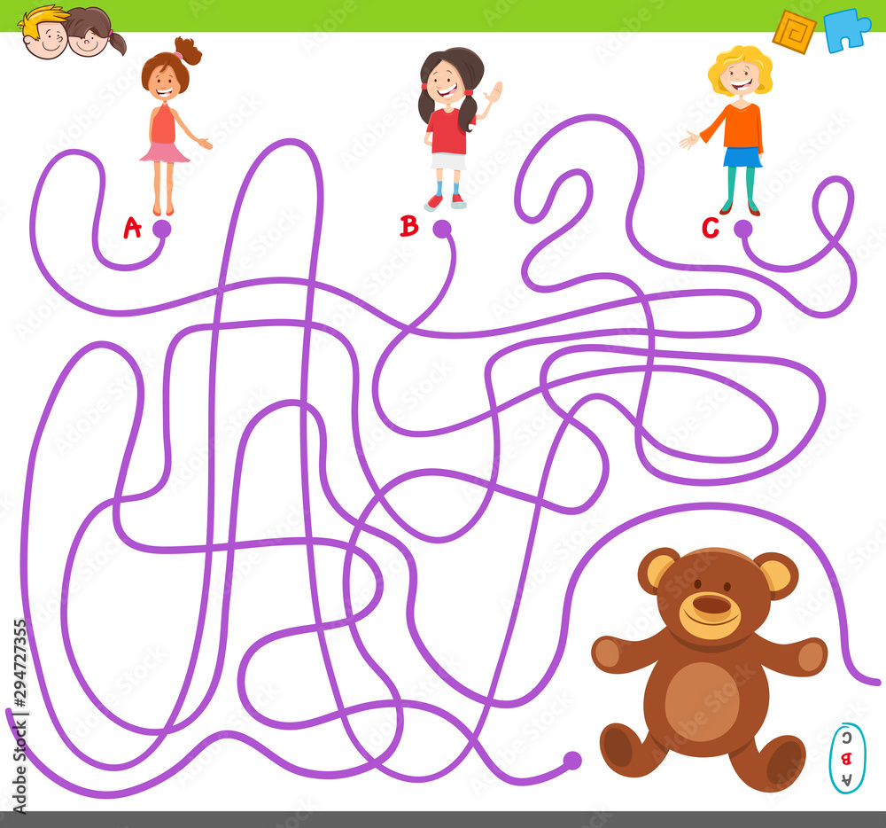 Fototapety, obrazy: maze game with girls and teddy