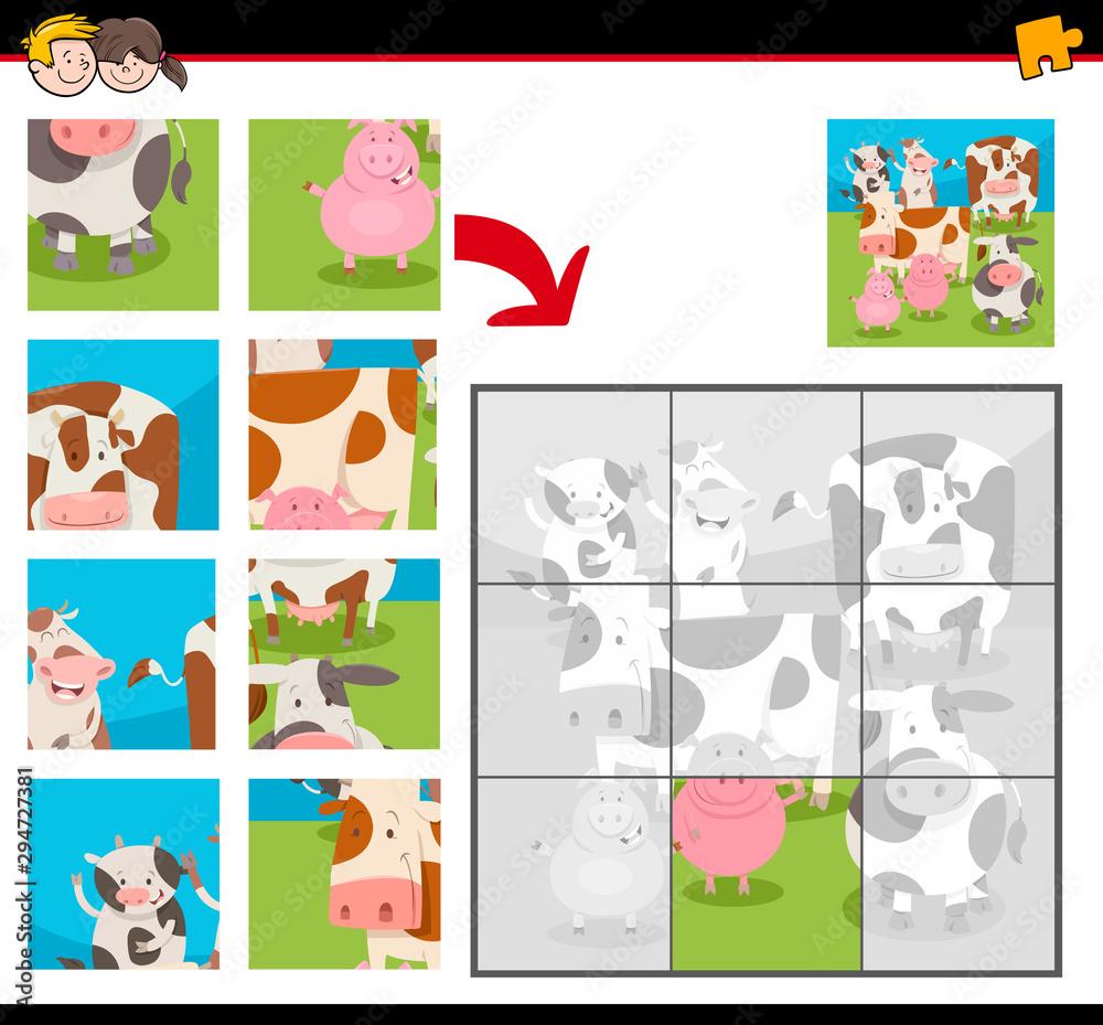 Fototapety, obrazy: jigsaw puzzles with cartoon happy farm animals