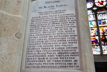 Blaise Pascal's Epitaph In Church Saint-Étienne-du-Mont, Where He Was Buried