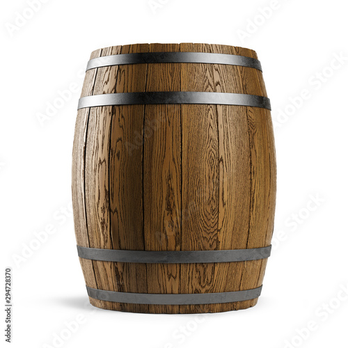 Canvas Print Wooden barrel isolated on white background
