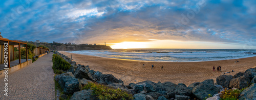 Foto auf Gartenposter Dunkelbraun Panoramic at sunset of the beach Plage de la Petite Cambre d'Amour in Biarritz