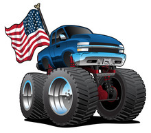 Monster Pickup Truck With USA ...