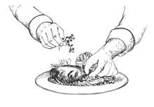 Kitchen Worker Decorate Gourmet Dish