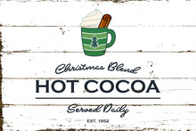 Vintage Hot Cocoa Sign With Sh...