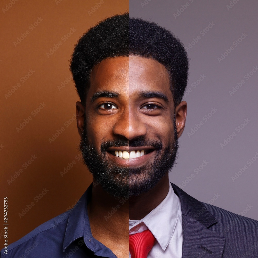 Fototapeta Portrait of a Beautiful young man in front of a colored background