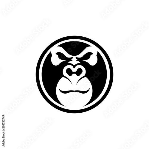 Gorilla head vector, monkey head vector, ape face logo Wallpaper Mural