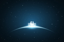 Lovers Sitting On Bench In Space. Vector Conceptual Illustration With White Silhouette Of Loving Couple. Bue Abstract Background With Stars And Glowing Outline