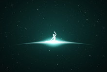 Lonely Yogi In Space. Vector C...