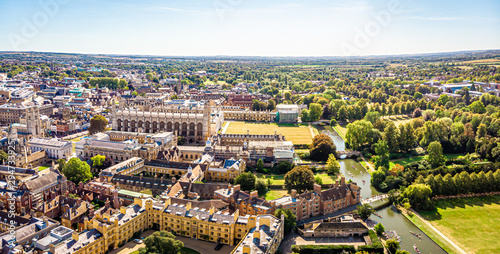 Canvas Aerial view of river Cam in Cambridge, United Kingdom