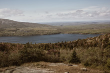 View Of Jordan Pond From Cadillac Mountain In Acadia National Park On Mount Desert Island, Maine.