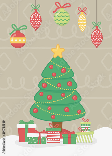 Fototapety, obrazy: hanging light tree and gift boxes celebration merry christmas poster