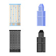 Vector design of municipal and center icon. Set of municipal and estate vector icon for stock.