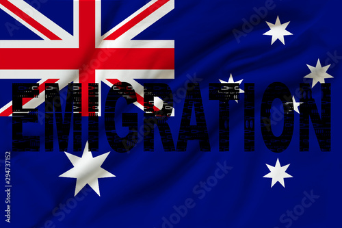 photograph of the national flag of Australia on a luxurious texture of satin, silk with waves, folds and highlights, closeup, copy space, travel concept, economy and state policy, illustration