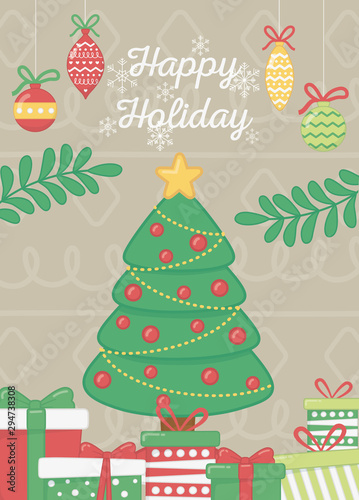 Fototapety, obrazy: decorative tree with balls star gifts branches celebration happy holiday poster