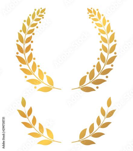 Fototapeta Golden laurel wreaths, round and half vector illustration obraz