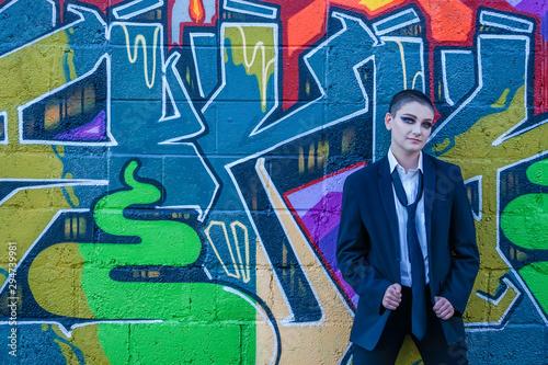 Photo  modern grunge young business woman