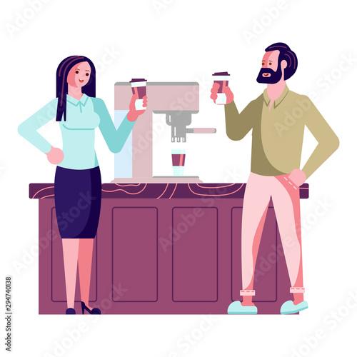 businessman and woman near coffeemachine Wallpaper Mural