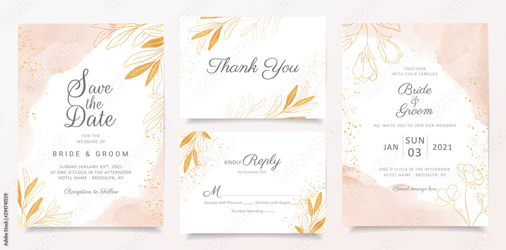 Fototapeta Watercolor creamy wedding invitation card template set with golden floral decoration. Abstract background save the date, invitation, greeting card, multi-purpose vector