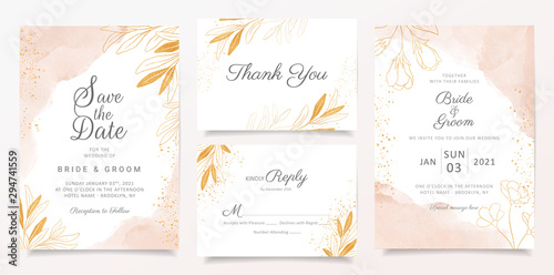 Fotomural  Watercolor creamy wedding invitation card template set with golden floral decoration