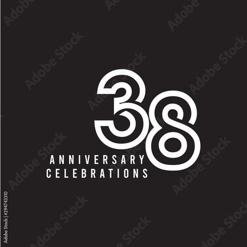Fotografia 38 Years Anniversary Celebration Vector Template Design Illustration