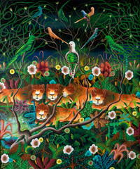 Fototapeta Zwierzęta Lionesses and Tropical Birds, Plants, and Flowers Naive Painting