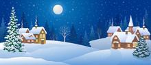 Christmas Night Village, Snowy...