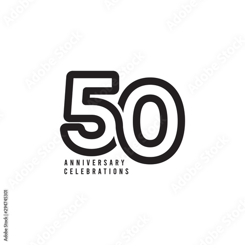 50 Years Anniversary Celebrations Vector Template Design Illustration Fotomurales