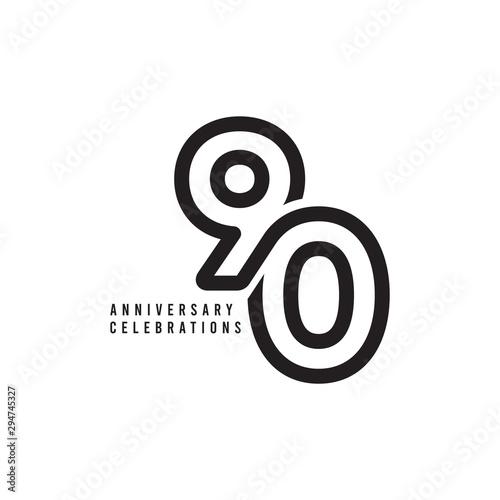Valokuva 90 Years Anniversary Celebrations Vector Template Design Illustration
