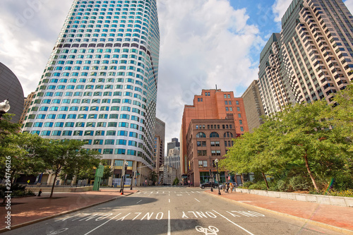 Fotografía  Boston, MA, USA-20 July, 2019: Boston downtown financial district and city skyli