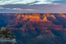 Last Sun Beams Of The Day Touching The Grand Canyon At The North Rim, Arizona/USA