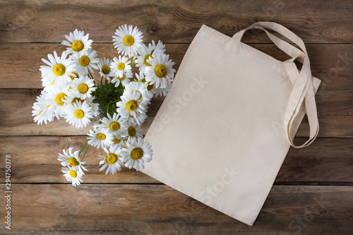 Rustic tote bag mockup with daisy Canvas Print