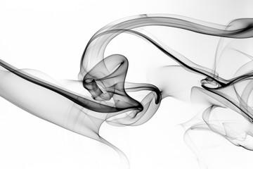 Black smoke abstract on whi...