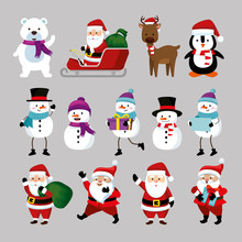 Bundle Christmas With Santa Claus And Set Characters Vector Illustration Design