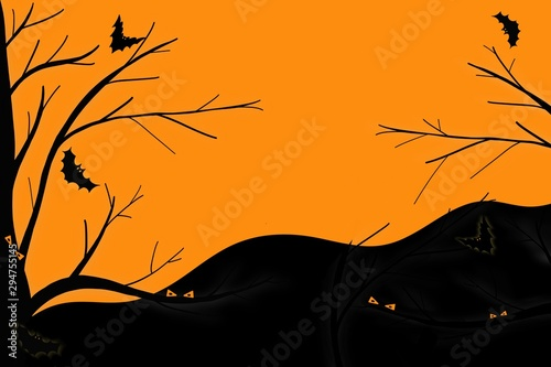 Autocollant pour porte Orange eclat Hand drawing. Bat and pumpkin ghost in forest on sunset time. Halloween, Party season, Holiday. Copy space. Can be use for advertising, poster, banner or any card.