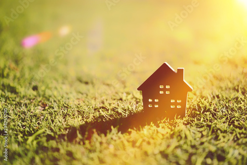 Poster Spring Copy space of home and life concept. Small model home on green grass with sunlight abstract background.