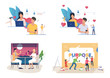 Dating website illustration set. Chatting on internet, meeting in cafe, painting word Purpose. Communication concept. Vector illustration for posters, presentations, landing pages