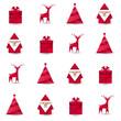 Święty Mikołaj, renifer, choinka i prezent origami. Bezszwowe tło wektor.