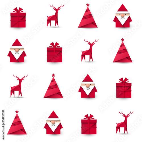 Fototapeta Święty Mikołaj, renifer, choinka i prezent origami. Bezszwowe tło wektor. obraz