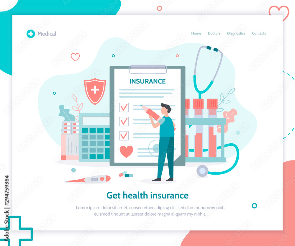 Fototapeta Healthcare, finance and medical service. Creative landing page design template. Health insurance concept. Flat vector illustration.