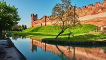 Section Of Walls In Castle Of Castelfranco Veneto, Comune Of Veneto, Northern Italy, In Province Of Treviso.