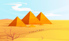 Desert Landscape With Egyptian Pyramids And Camels Caravan, Cartoon Vector Illustration. Hot Golden Sand Dunes With Pyramids On Horizon And Bedouins With Camels. Desert Banner