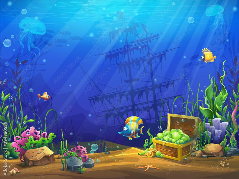 Fototapeta Vector illustration of the underwater ocean