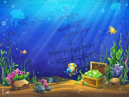 Montage in der Fensternische Dunkelblau Vector illustration of the underwater ocean