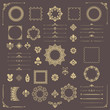 Vintage set of vector horizontal, square and round elements. Different elements for backgrounds, frames and monograms. Classic golden patterns. Set of vintage patterns