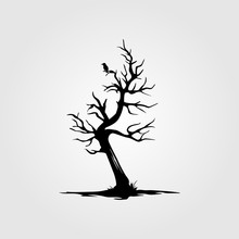 Vintage Dead Tree With Alone B...