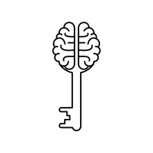 Human Brain With Key Icon. Outline Thin Line Illustration.New Idea And Creativity Concept. Isolated On White Background.