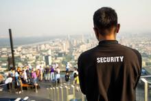 Bangkok, Thailand - September 27 2019: Security Guard On MahaNakhon Building, Mahanakhon Skywalk, Observation Deck 314 Meters The Peak Glass Tray.