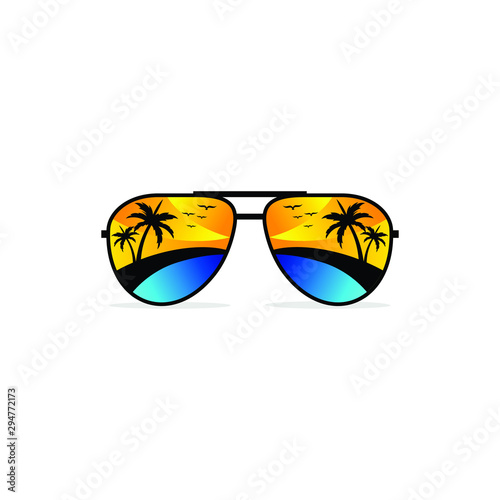 Fotografiet Sunglasses summer with palm beach sunrise. Vector illustration